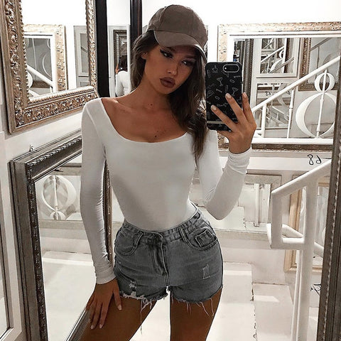 Casual Solid Cotton Skinny Body Autumn Basic Long Sleeve Bodysuits Sheer Rompers Bodysuit