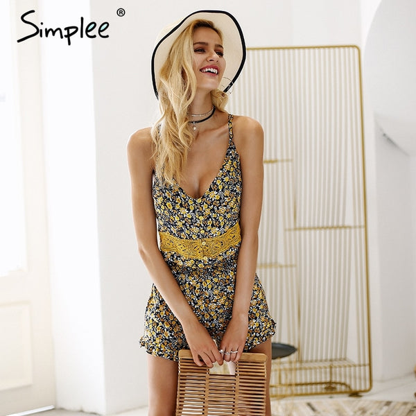 V neck strap boho print rompers ruffle backless playsuit
