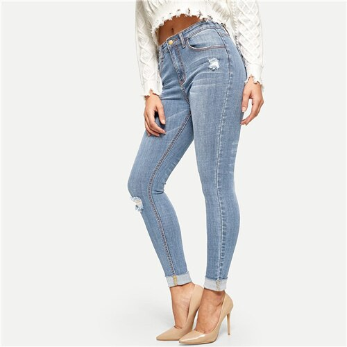 Blue Stitch Detail Ripped Cuffed Hem Street Wear Skinny Jeans Solid Casual Denim Pants
