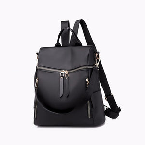 Casual Women Multi-function Bag Waterproof Simple Female Large-capacity PU Leather Black Gray Backpack