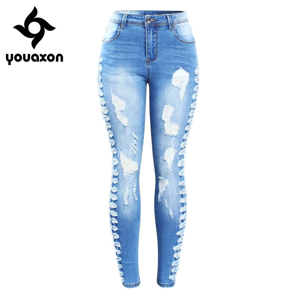Plus Size Stretchy Ripped Jeans Woman Side Distressed Denim Skinny Pencil Pants Trousers For Women