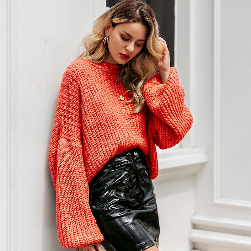 Lantern sleeve knitted pullover loose round neck red autumn casual sweater jumper