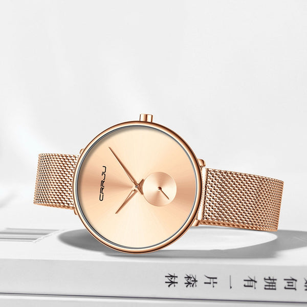 Luxury Casual Simple Ladies Daily Dress Mesh Minimalist Waterproof Quartz Wristwatch