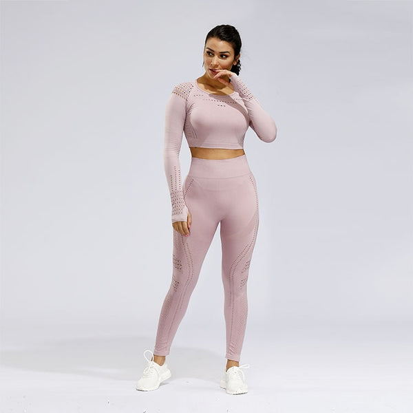 2 Piece Sports Yoga Gym Fitness Athletic Pants Sportswear Leggings Long Sleeve Seamless Sports Hollow Out Top Set
