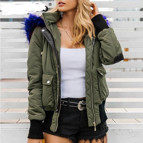 Hooded Fur Waist Length Zipper Front Bomber Jacket in 3 Colours