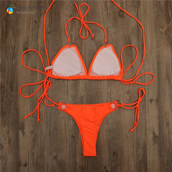 2 Piece Micro Mini Swimsuit Sexy Bandage Brazilian Bikini Set Push Up Swimwear Women's Beachwear