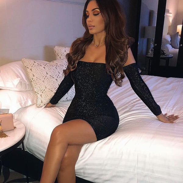 Glitter sparkle bling long sleeve off shoulder elegant bodycon autumn winter party mini dress