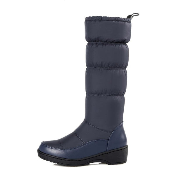 Below Knee High Round Toe Soft PU Leather Snow Boots - The Clothing Company Sydney