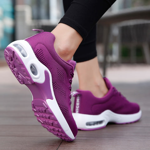 Breathable Mesh Comfort Jogging Air Cushion Lace Up Ladies Fashion Running Outdoor Sports Sneakers Shoes