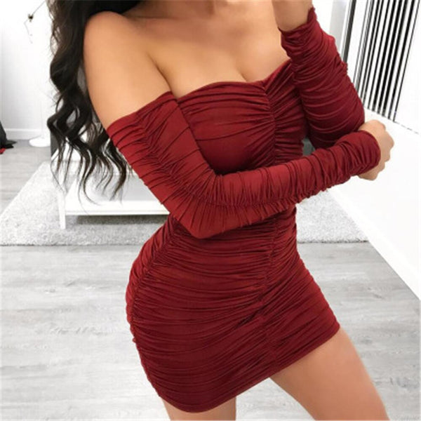 Off Shoulder Long Sleeve Slim Elastic Bodycon Party Mini Dress