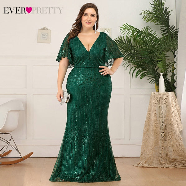 Plus Size Sparkle Prom Sequined Ruffles Sleeve V-Neck Elegant Mermaid Pary Gowns Dresses