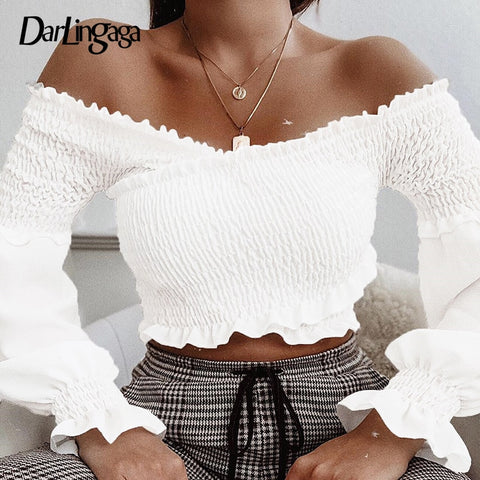 Fashion Chic Smocking White Shirt Women Blouse Long Sleeve Criss-cross Off Shoulder Top Crop