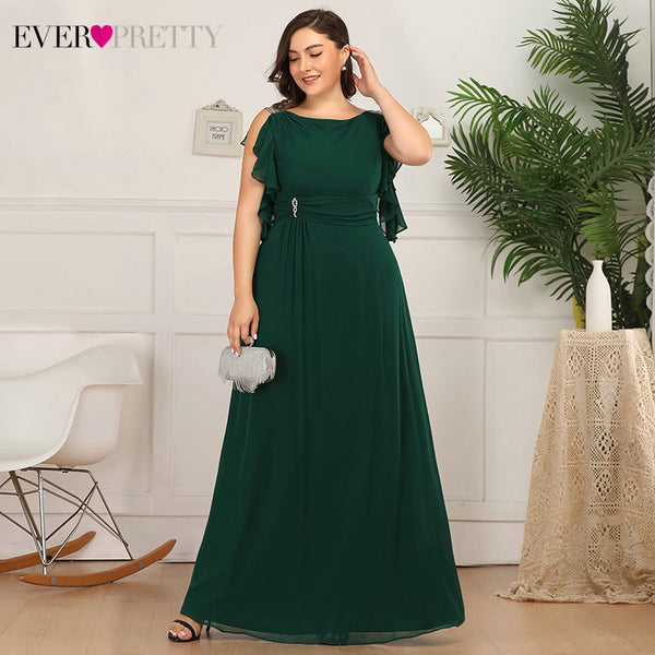 Plus Size A-Line Ruffles Beaded O-Neck Wedding Guest Mother Of The Bride Dresses