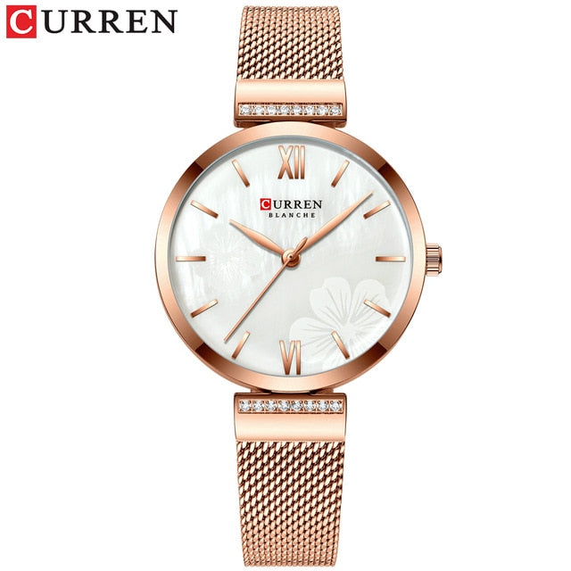 Ladies Simple Fashion Quartz Charm Bracelet Stainless Steel Watch