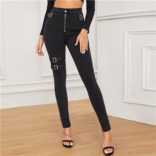 Black Adjustable Belted Exposed Zip Front High Waist Skinny Jeans Solid Casual Denim Pants