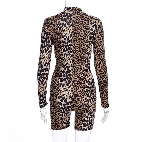 Long sleeve tiger leopard print bodycon playsuit Romper Clubwear