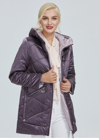 Waterproof fabric with cap design thick cotton Puffer warm women parka Winter Jacket