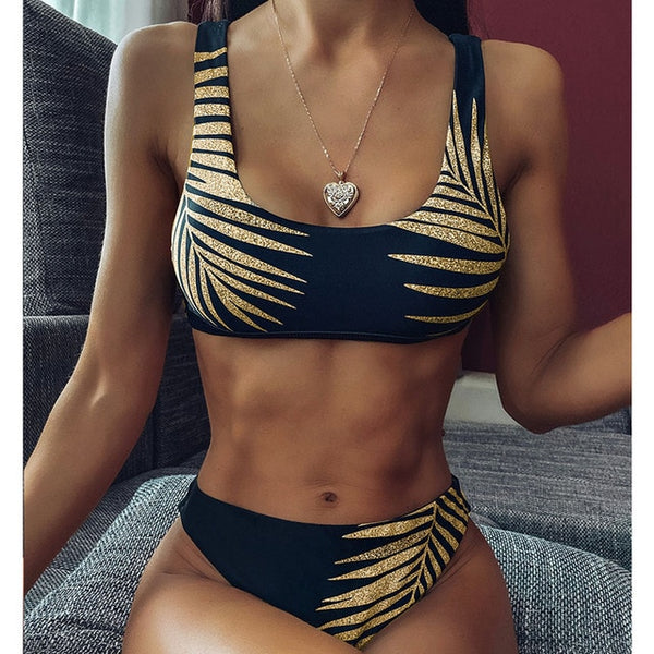 High Waist 2 Pieces Lace Leopard Print Bikini Swimwear