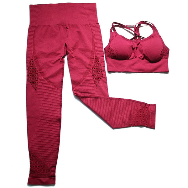 2 Piece Sports Gym Fitness Lifting Pants Sportswear Leggings Padded Push-up Seamless Sports Bra Top Set