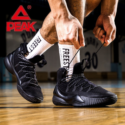 PEAK Men Basketball Breathable Mesh Cushion Sneakers Non-slip Wearable Street Sports Shoes