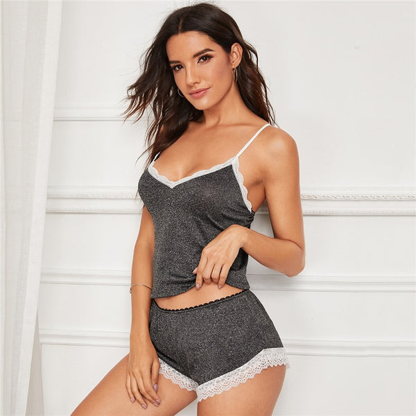 Grey Floral Lace Trim Cami Summer Sleepwear Stretchy Short Sets Ladies Nightwear Pyjama Set