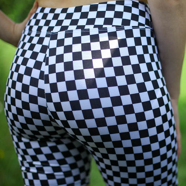 Plus Size High Waist Punk Sexy Shorts Black White Checkerboard Push Up Skinny Shorts