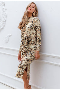 Leopard print long Autumn long sleeve sashes bodycon stretch Elegant party dress