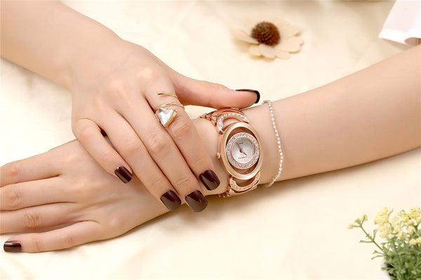Ladies' Luxury Brand bracelet  Stainless Steel Rhinestone Quartz Watch