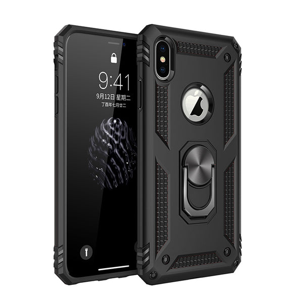 Shockproof Rugged Armor Case For iPhone XR XS Max X 6 6S 7 8 Plus Finger Magnetic Ring Hard Holder Protective Phone Cover Case