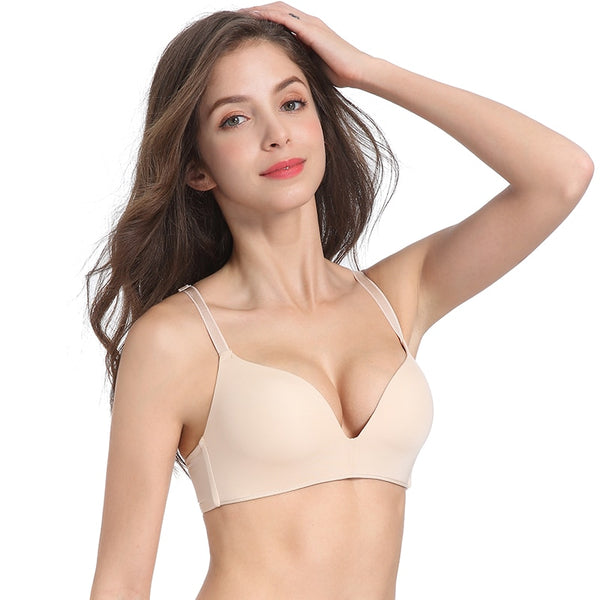 Seamless Push Up No Wire Brassiere A B Cup Underwear Three Quarters(3/4 Cup) Bra lingerie