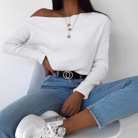 Oblique Collar Sexy Knitted Asymmetrical Pullovers One Shoulder Fashion Autumn Winter Jumper Sweaters