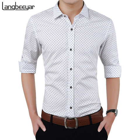 Men Slim's Fit Men Long Sleeve Polka Dot Casual Social Shirt Plus Size