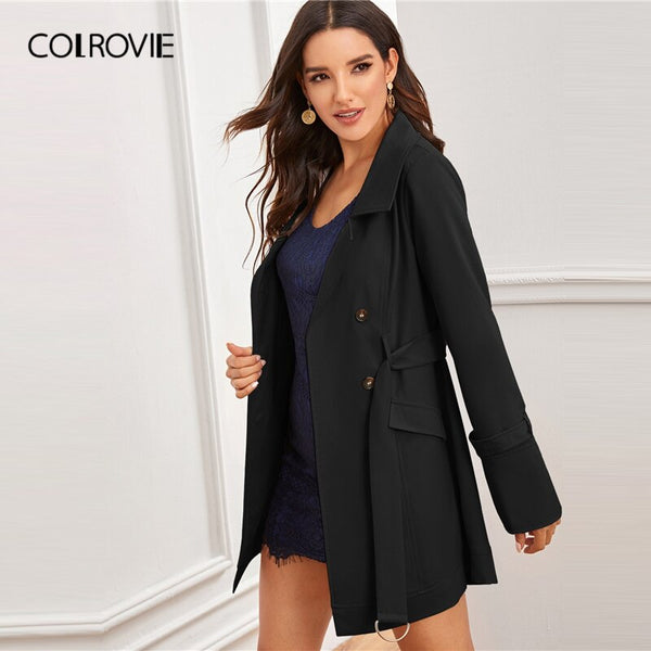 Black Notch Collar Double Breasted D-ring Belted Coat Solid Coat And Jackets Ladies Outerwear