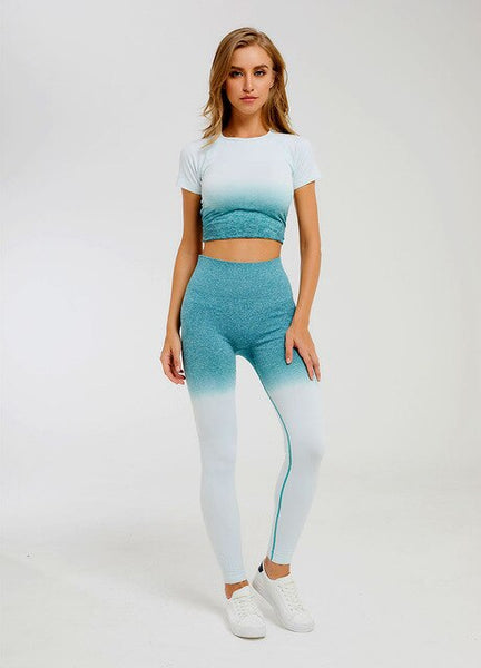 2 Piece Sports Yoga Sets Gym Fitness Athletic Ombre Pants Sportswear Leggings Shirt Seamless Sports Active