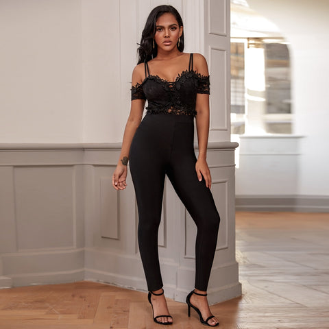Rayon Black Bandage Jumpsuit Rompers Sexy Lace Bodycon Bandage Jumpsuit