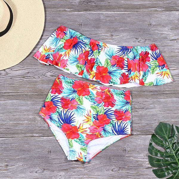 Ruffle Swimwear Floral Print Bathing Suit Summer Off Shoulder Swimsuit High Waist Solid Bikinis Beach Wear Bikini
