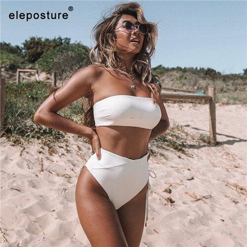 2 Piece High Waist Bandage Swimsuit Push Up Bikini Set Off Shoulder Bathing Suits Summer Beach Wear Swimwear