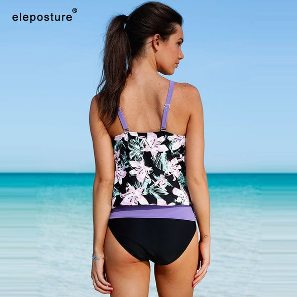 2 Piece High Waist Vintage Retro Print Bathing Suit Summer Tankini Beachwear Swimsuit Swimwear