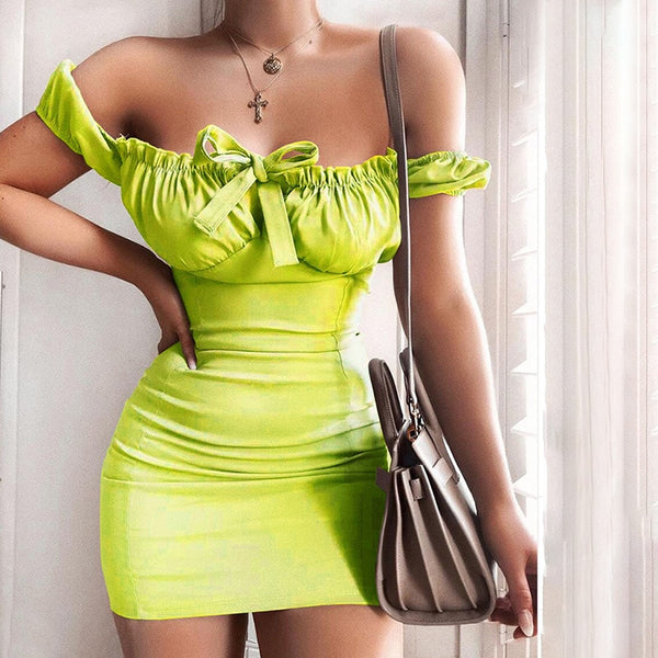 Avocado Green Lace Up Mini Bow Dress Summer Sexy Bodycon Party Club Dress