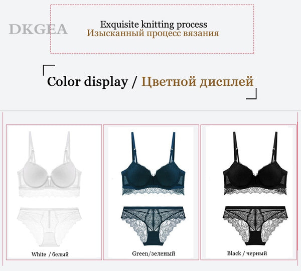 2 Piece Lace Bra and Panties Push Up Brassiere Sexy Underwear Set Cotton Thick Bras Embroidered Women Lingerie Set