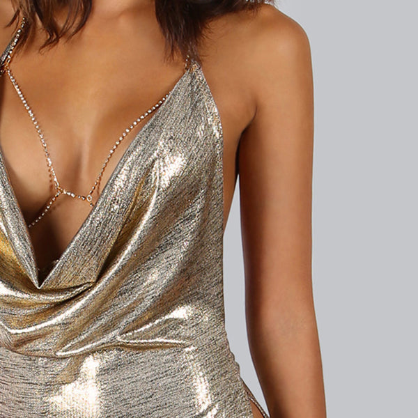 Metallic Plunge Cowl Party Gold Sexy Slit Backless Women Summer Mini Bodycon Draped Slim Club Dress