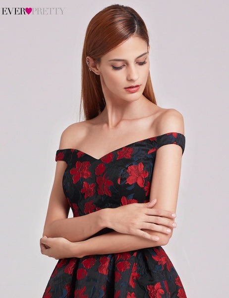 New Fashion Retro Off Shoulder Women's Flare Party Floral Print robe Cocktail Dresses