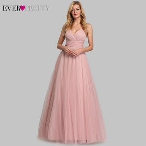 Cute Pink A-Line V-Neck Tulle Sparkle Wedding Guest  Bridesmaid Dresses