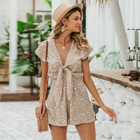 Boho Casual bow tie Short Sleeve Loose v neck leopard print overalls romper Playsuit