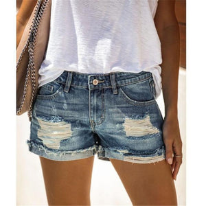 Sexy Vintage Mid waist sexy Ripped Tassel casual Hot Short Jeans Shorts