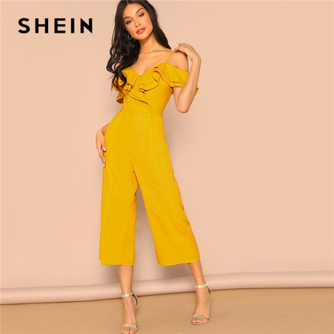 Cold Shoulder Layered Flounce Foldover Palazzo Party Ruffle Spaghetti Strap Sleeveless Summer Jumpsuits