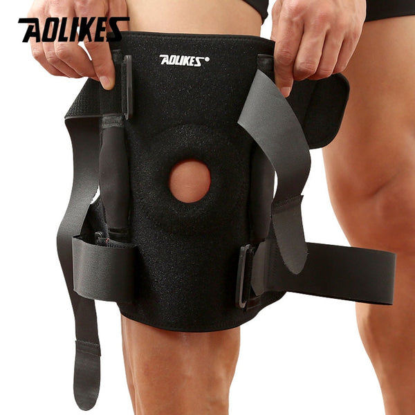 AOLIKES 1PC Hiking Cycling Knee Support Protector With Removeble Aluminum Plate 4 Straps For Mountaineering Knee Joint Brace