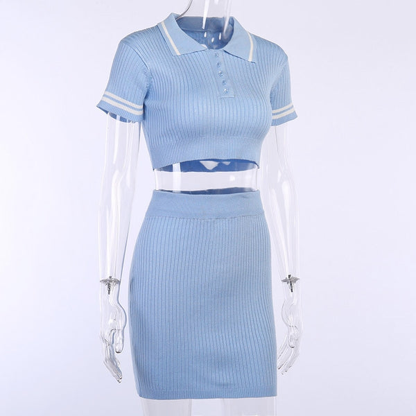 Two Piece Set Summer Blue Knit Crop Top V Neck Short Sleeve And Mini Bodycon Skirt Casual Women Outfit