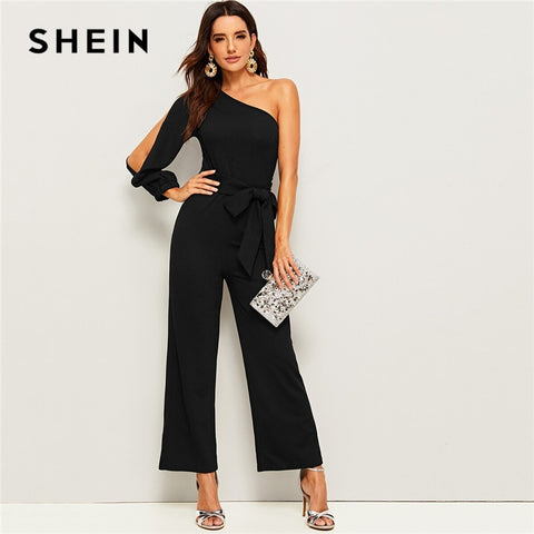 Black One Shoulder Split Sleeve Wide Leg Belted Maxi Autumn Solid Zipper Side Wide Leg Sexy Jumpsuit