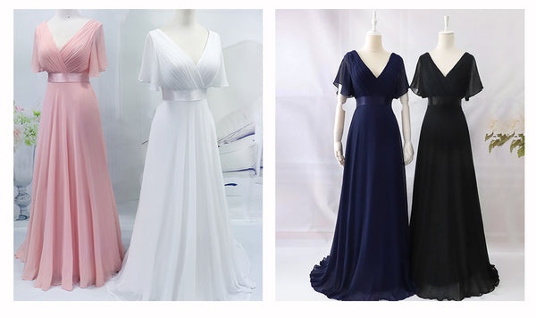 Plus Size Evening Dresses Ever Pretty EP09890 Elegant V-Neck Ruffles Chiffon Formal Evening Gown Party Dres